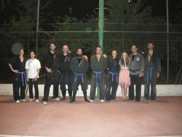 Group of students and instructors of Bujinkan Dojo Thessaloniki after an evening course
